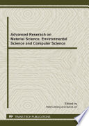 Advanced Research on Material Science  Environmental Science and Computer Science