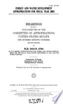 Energy and Water Development Appropriations for Fiscal Year 2003
