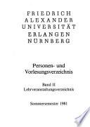 Personen- und Vorlesungsverzeichnis