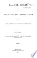 Ballistic Tables for Standard Navy Projectiles with Ogival Heads of Two Calibers Radius