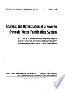 Analysis and Optimization of a Reverse Osmosis Water Purification System Book
