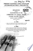 Priest Rapids And Cougar Hydroelectric Projects Hearing On S 1793 And 2920 May 20 1954