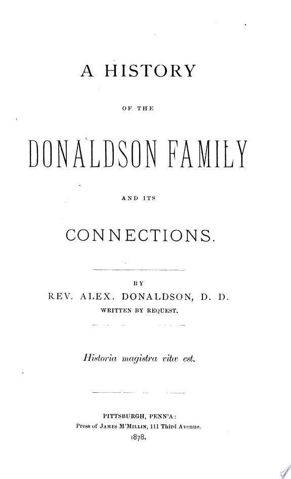 A History of the Donaldson Family a