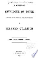 A General Catalogue Of Books The Supplement 1875 77