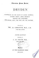 Dryden; Stanzas on the Death of Oliver Cromwell