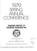 Spring Annual Conference American Institute Of Industrial Engineers Book PDF