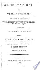 Observations on Certain Documents Contained in No  V   VI of  The History of the United States for the Year 1796