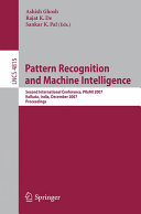 Pattern Recognition and Machine Intelligence