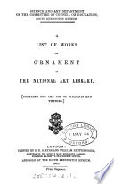 A list of works on ornament in the National art library