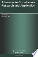 Advances In Coxiellaceae Research And Application 2013 Edition Book PDF
