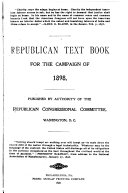 Republican Text Book For The Campaign Of 1898