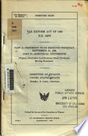 Tax Reform Act of 1969  H R  13270 Book
