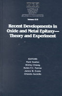 Recent Developments in Oxide and Metal Epitaxy - Theory and Experiment: Volume 619