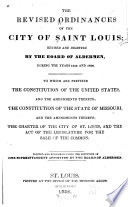 The Revised Ordinances Of The City Of Saint Louis 1835 36 1843 1846 1850 1860 61