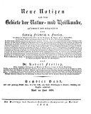 Notizen aus dem Gebiete der Natur- und Heilkunde, gesammelt u. mitgetheilt von Ludwig Friedrich v(on) Froriep