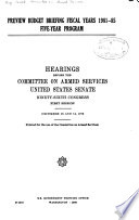 Preview Budget Briefing  Fiscal Years 1981 85 Five year Program