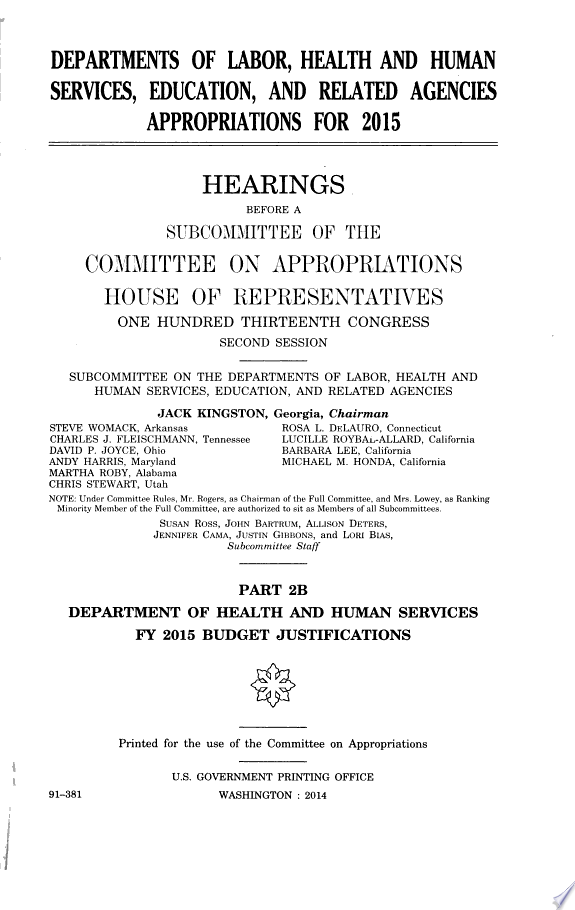 Departments of Labor  Health and Human Services  Education  and Related Agencies Appropriations for 2015