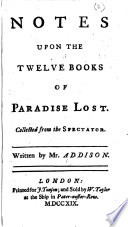 Notes upon the twelve Books of Paradise Lost  etc