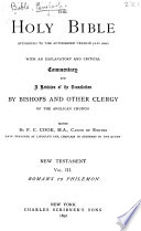 The Holy Bible According to the Authorized Version (a.D. 1611): Romans to Philemon. 1892