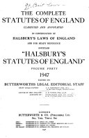 The Complete Statutes Of England Classified And Annotated