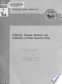 Collection  Storage  Retrieval  and Publication of Water resources Data