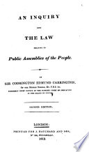 An Inquiry Into The Law Relative To Public Assemblies Of The People Second Edition Pdf/ePub eBook