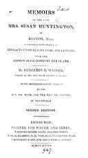 Memoirs of ... mrs. Susan Huntington [ed.] by B.B. Wisner