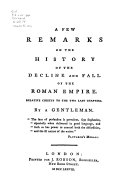 On The Decline and Fall of the Roman Empire  1778  and A Short Appeal to the Public  1779  Book