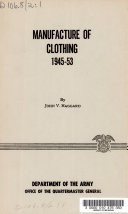 Manufacture of Clothing  1945 53