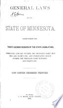 General Laws Of The State Of Minnesota
