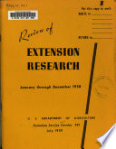 Review Of Extension Research January Through December 1958
