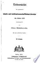 Übersicht der gesamten staats- und rechtswissenschaftlichen literatur...