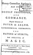 Henry Cornelius Agrippa s Fourth Book of Occult Philosophy  and Geomancy