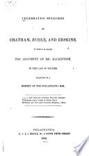 Celebrated Speeches of Chatham, Burke, and Erskine
