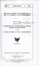 The Roles  Mission  and Operation of the U S  General Accounting Office