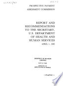 Report and Recommendations to the Secretary, U.S. Department of Health and Human Services
