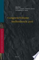 Congress Volume Stellenbosch 2016