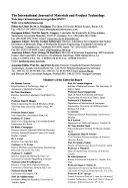 International Journal of Materials   Product Technology