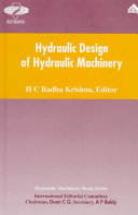 Hydraulic Design of Hydraulic Machinery