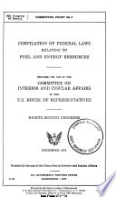 Compilation of Federal Laws Relating to Fuel and Energy Resources
