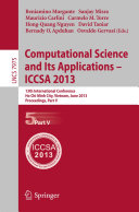 Computational Science and Its Applications -- ICCSA 2013