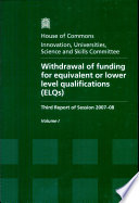 Withdrawal of Funding for Equivalent Or Lower Level Qualifications (ELQs)