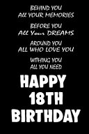 Behind You All Your Memories Before You All Your Dreams Happy 18th Birthday