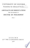 Abstracts of Dissertations for the Degree of Doctor of Philosophy  , Volumes 1-2