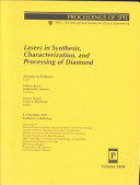 Lasers in Synthesis  Characterization  and Processing of Diamond Book