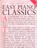 The Library of Easy Piano Classics Book