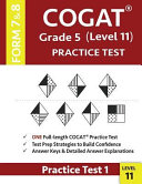 COGAT Grade 5 Level 11 Practice Test Form 7 And 8