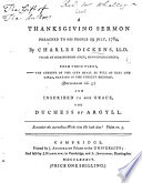 A Thanksgiving Sermon Preached To His People 29 July 1784 Etc