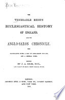 """""""The"""" Venerable Bede's Ecclesiastical History of England. Also the Anglo-Saxon Chronicle"""