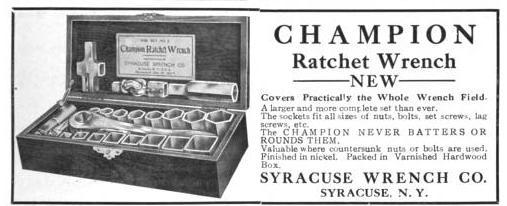 [1911 Advertisement for Champion Ratchet Wrench Set]